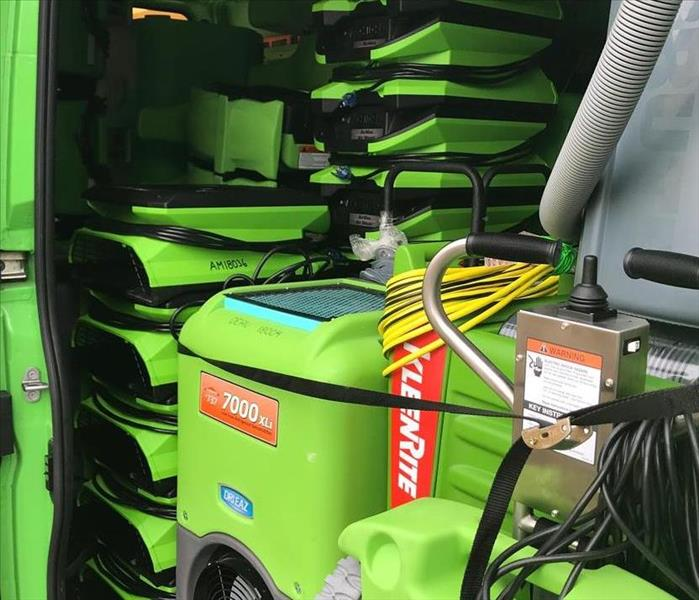 SERVPRO equipment in a vehicle.